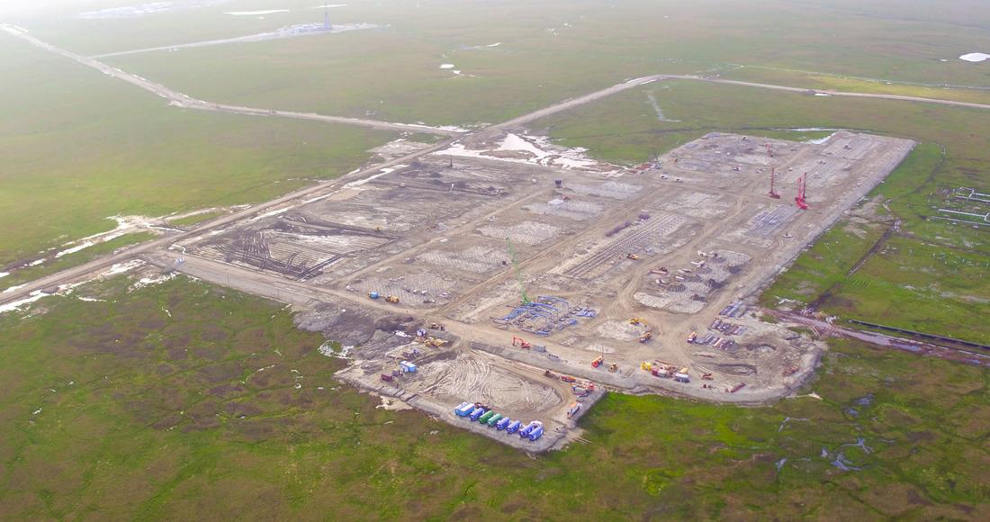 Строительная площадка установки комплексной подготовки газа Харасавэйского месторождения